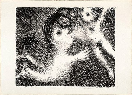 An image of St Francis blowing Brother Masseo into the air by Arthur Boyd