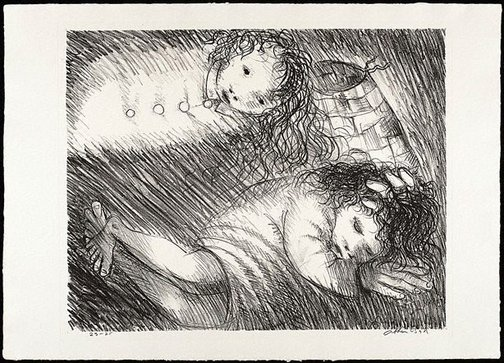 An image of St Francis when young dreaming of fine clothes and armour by Arthur Boyd