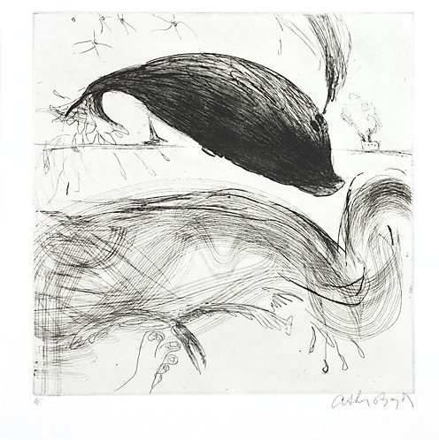 An image of Diving whale by Arthur Boyd