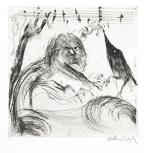 An image of 'The last song of the blackbird' (after Peter Porter poem) by Arthur Boyd