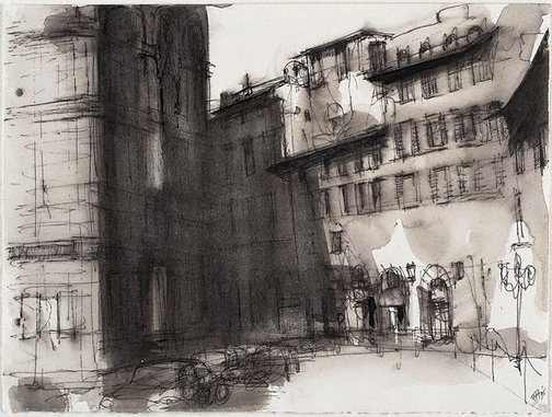 An image of (Italian streetscape) by Frank Hodgkinson
