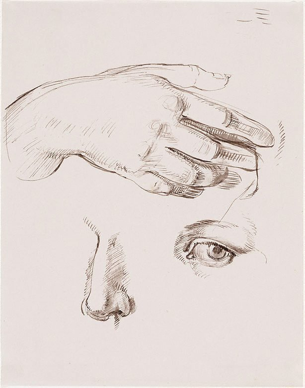 An image of Studies of the artist's hand, eye and nose