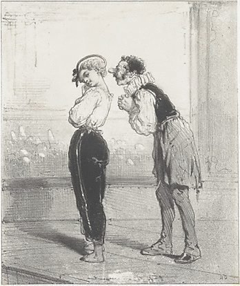 An image of (Stage scene: woman in trousers, man with false nose)