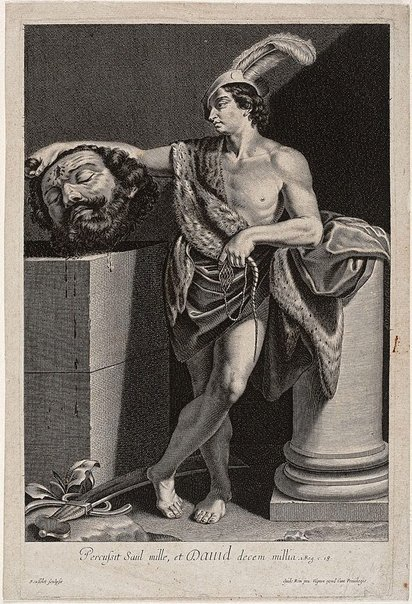 An image of David holding the head of Goliath by Gilles Rousselet, after Guido Reni