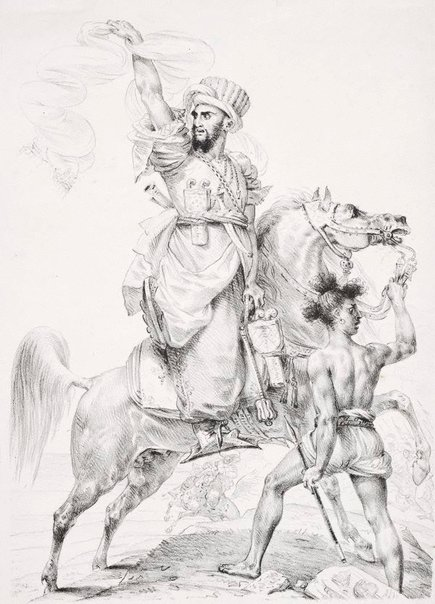 An image of Chief of the Mamelukes on horseback, calling for help by Antoine-Jean Baron Gros