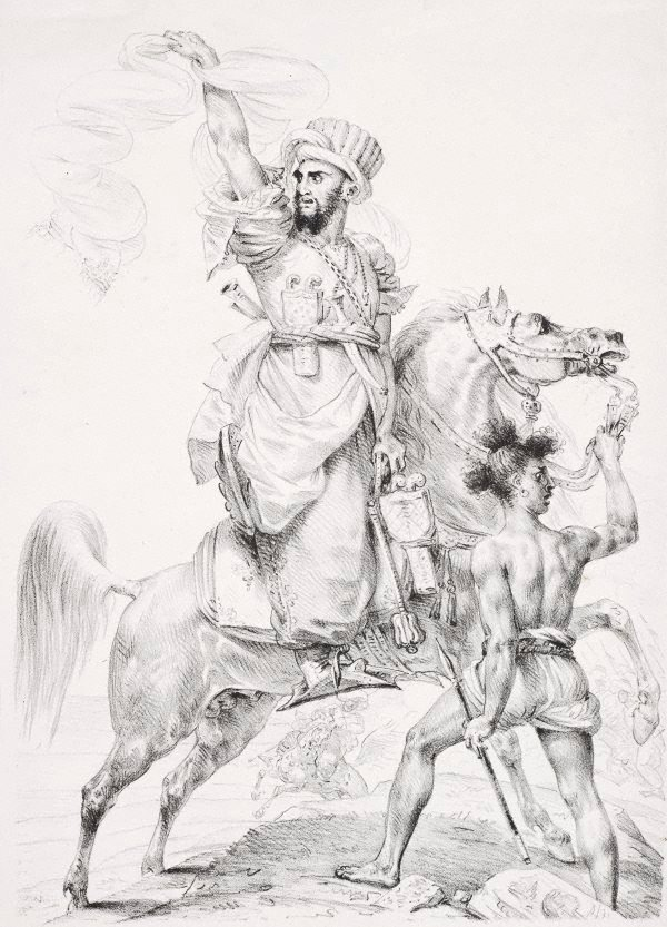 An image of Chief of the Mamelukes on horseback, calling for help