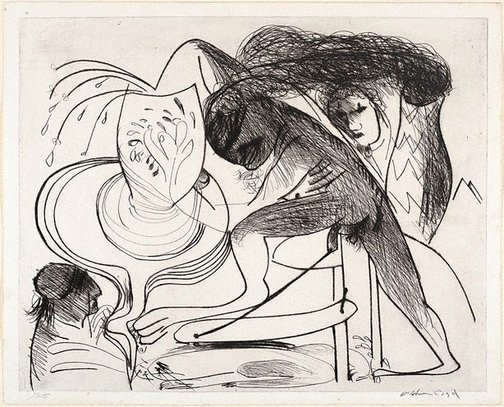 An image of Potter, potter's wheel and smoking chimney by Arthur Boyd