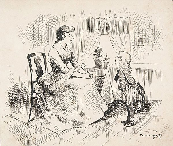 An image of (Mother and son - indoor scene)