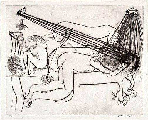 An image of Hypnotist with nude, bath and beast by Arthur Boyd