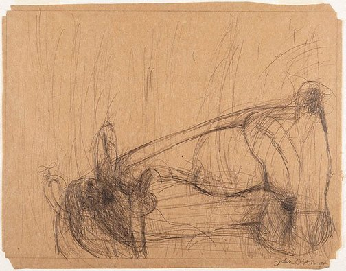 An image of Drawing for soft - ground etching 'Nude in the bath' by John Olsen