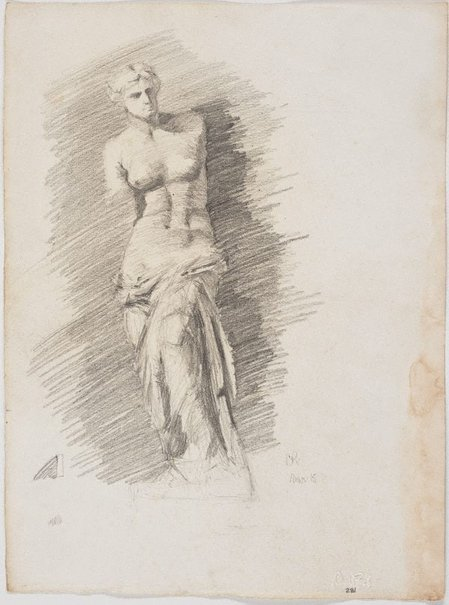 An image of recto: Venus de Milo, Art School, Brisbane verso: Study for forward leaning figure, 'Borghese' warrior or gladiator by Lloyd Rees