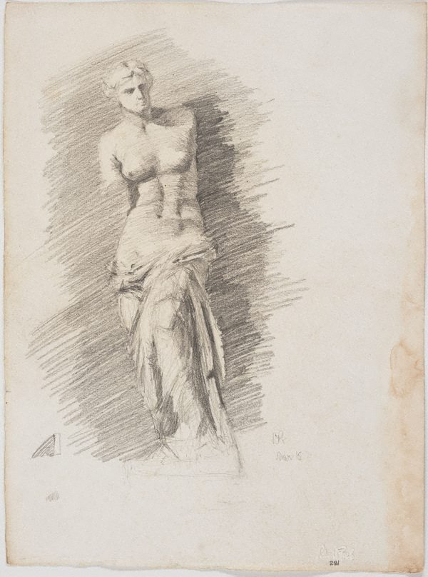 An image of recto: Venus de Milo, Art School, Brisbane verso: Study for forward leaning figure, 'Borghese' warrior or gladiator