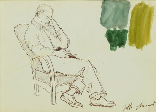 An image of Noel reading by Jeffrey Smart