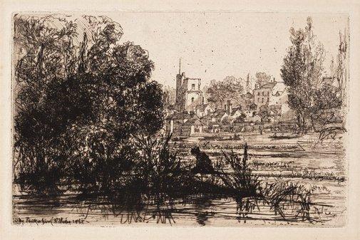 An image of Twickenham Church by Sir Francis Seymour Haden