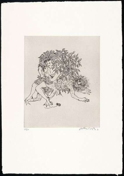 An image of (Illustration to Peter Stark's poem 'Story of the ruined man') by Arthur Boyd