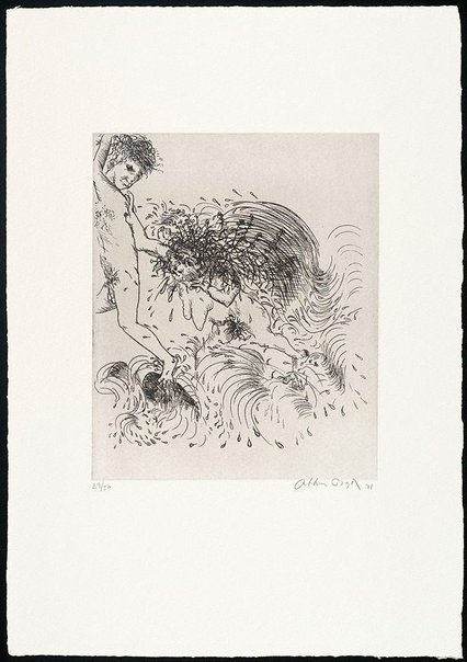 An image of (Illustration to Peter Stark's poem 'The old woman from the sea') by Arthur Boyd