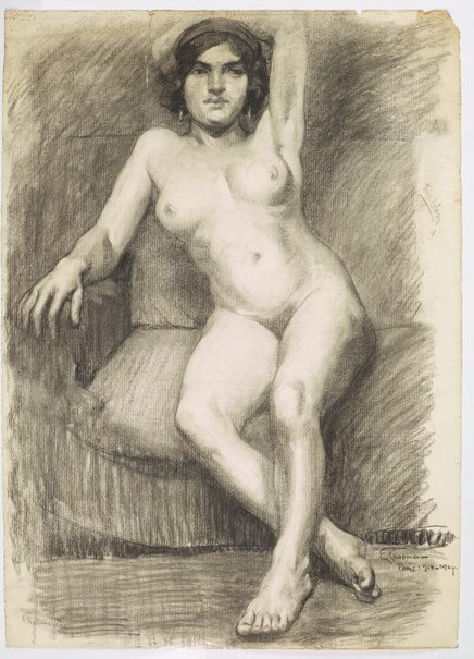 An image of (Seated female nude, left arm behind head) by Evelyn Chapman