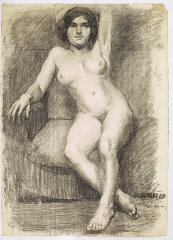 An image of (Seated female nude, left arm behind head)