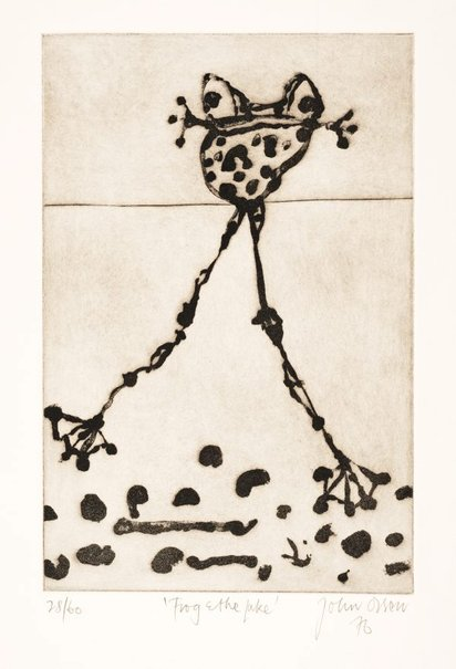 An image of Frog and lake by John Olsen