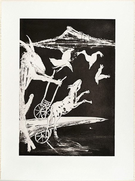 An image of (Illustration for Peter Porter's poem 'The shadow of the charnel') by Arthur Boyd