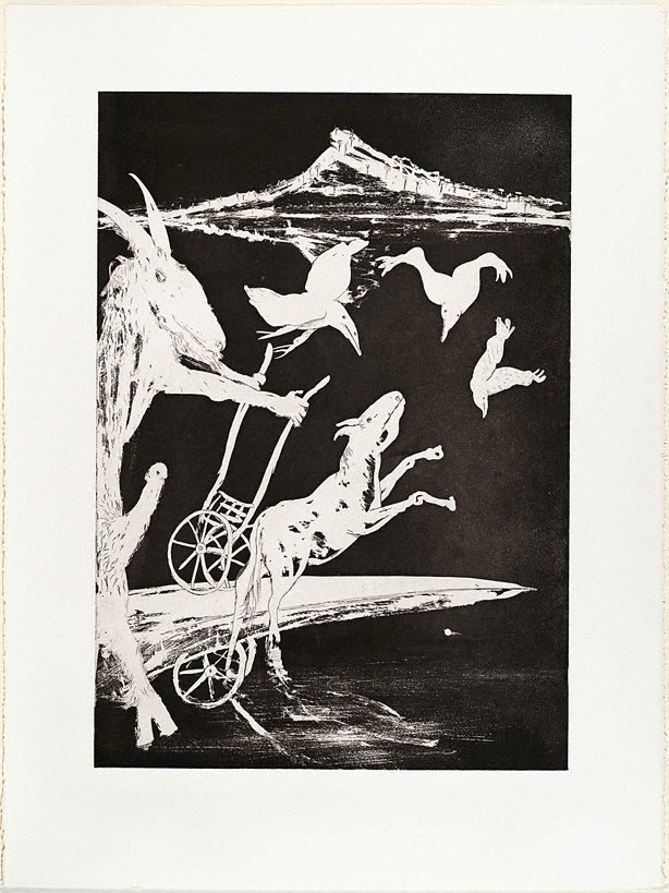 An image of (Illustration for Peter Porter's poem 'The shadow of the charnel')