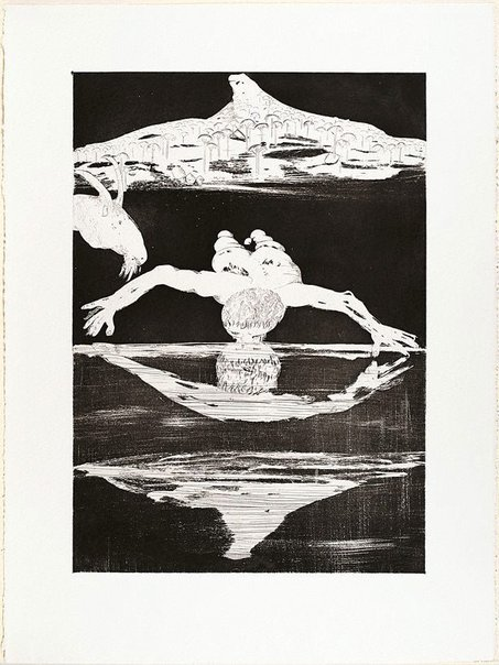 An image of (Illustration for Peter Porter's poem 'The Narcissus emblems') by Arthur Boyd
