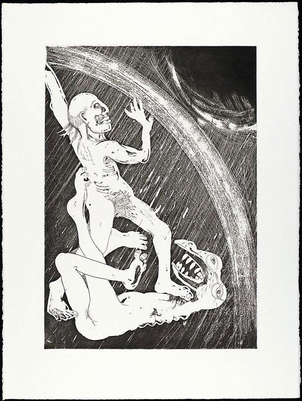 An image of (Illustration for Peter Porter's poem 'The rainbow maker')