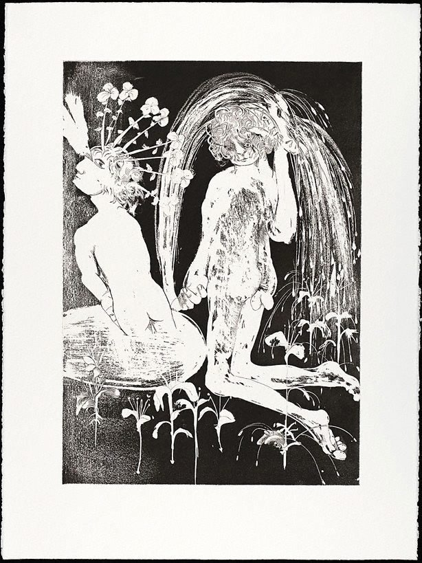 An image of (Illustration (b) for Peter Porter's poem 'Narcissus's revolutionary sayings, a selection')