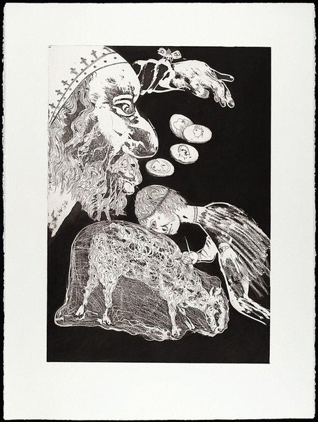 An image of (Illustration a for Peter Porter's poem 'The painter's banquet') by Arthur Boyd