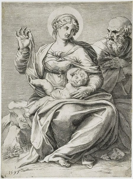 An image of The Holy Family by Agostino Carracci