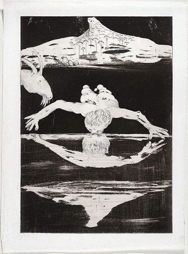 (Illustration for Peter Porter's poem 'The Narcissus emblems'), (1983-1984), Narcissus by Arthur Boyd