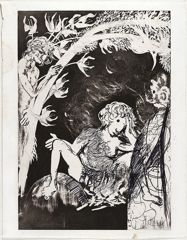 An image of (Illustration for Peter Porter's poem 'Echo's moon calf')
