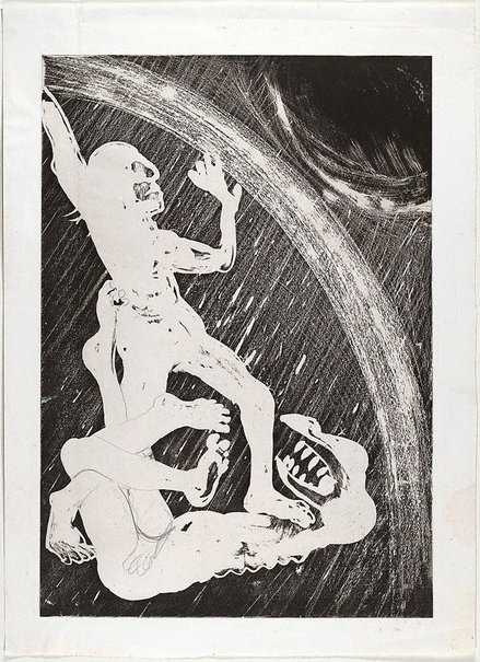An image of (Illustration for Peter Porter's poem 'The rainbow maker') by Arthur Boyd