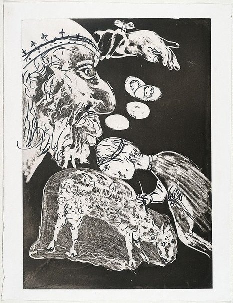 An image of (Illustration (a) for Peter Porter's poem 'The painters' banquet') by Arthur Boyd