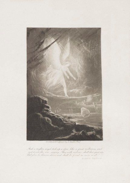 An image of The Angel prophesying the destruction of Babylon by John Martin