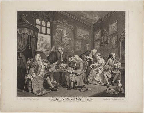 An image of Marriage-à-la-mode, plate 1 by Gérard Jean Baptiste Scotin II, after William Hogarth