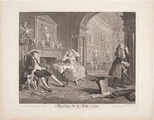 An image of Marriage-à-la-mode, plate 2 by Bernard Baron, after William Hogarth