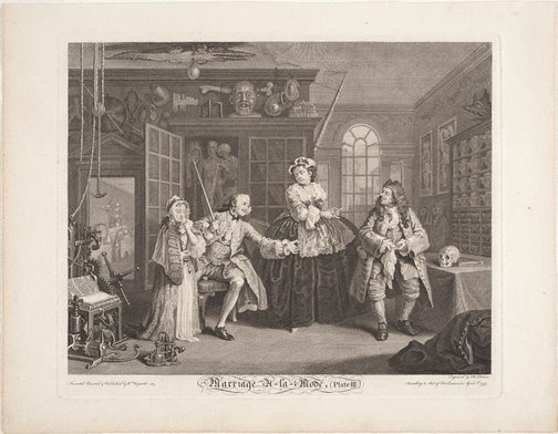 An image of Marriage-à-la-mode, plate 3 by Bernard Baron, after William Hogarth