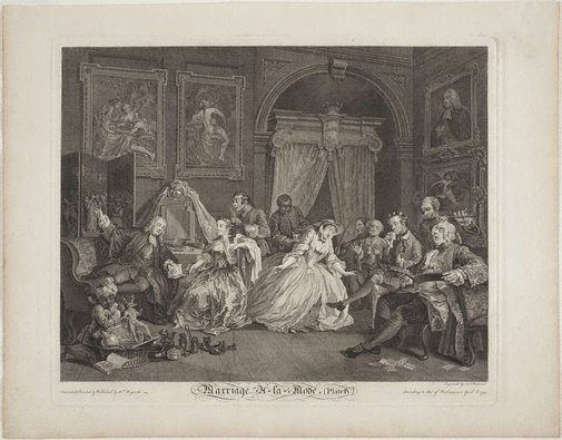 An image of Marriage-à-la-mode, plate 4 by Simon-François Ravenet, after William Hogarth