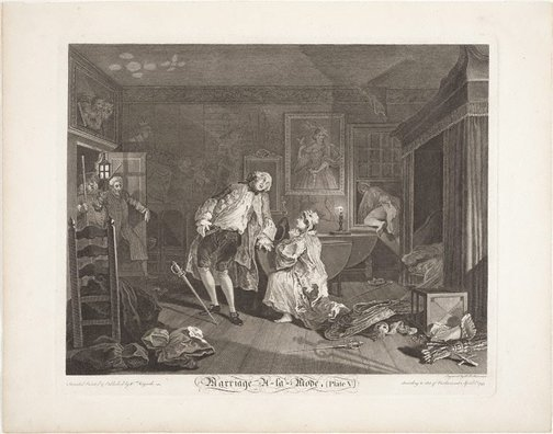An image of Marriage-à-la-mode, plate 5 by Simon-François Ravenet, after William Hogarth