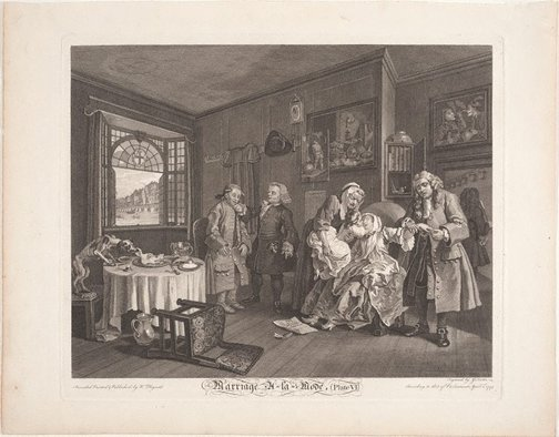 An image of Marriage-à-la-mode, plate 6 by Gérard Jean Baptiste Scotin II, after William Hogarth