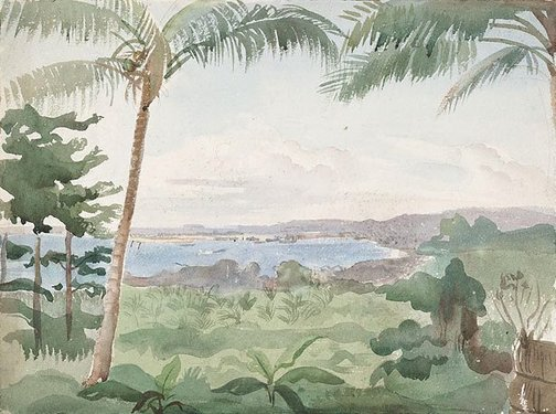 An image of Port Finschhafen, New Guinea by Nora Heysen