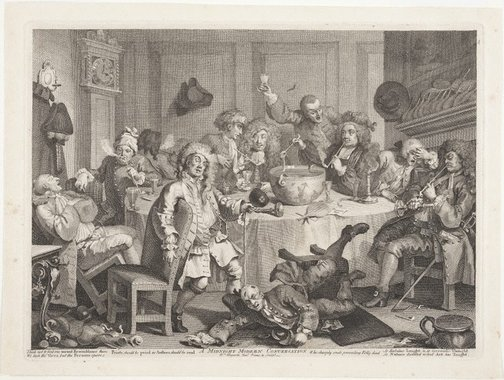 An image of A midnight modern conversation by William Hogarth