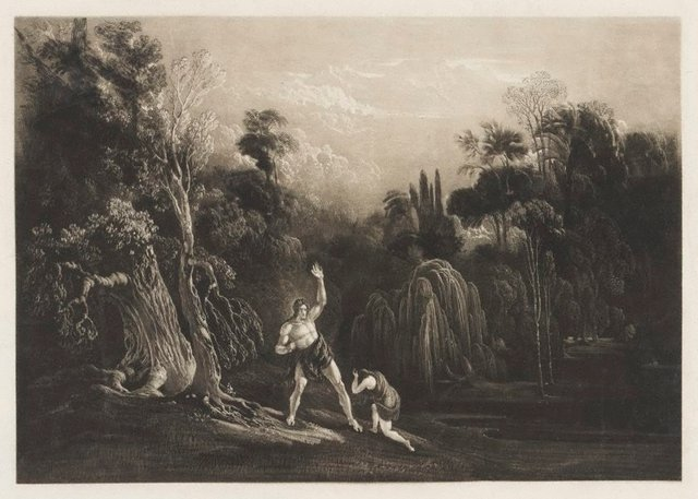 An image of Adam Reproving Eve (Book 10, line 863 from Milton's Paradise Lost)