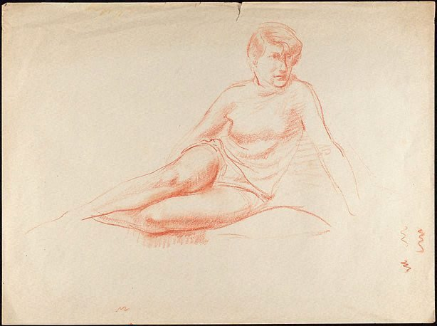 An image of Figure study, seated female