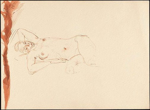 An image of Study of a reclining female model by Nora Heysen