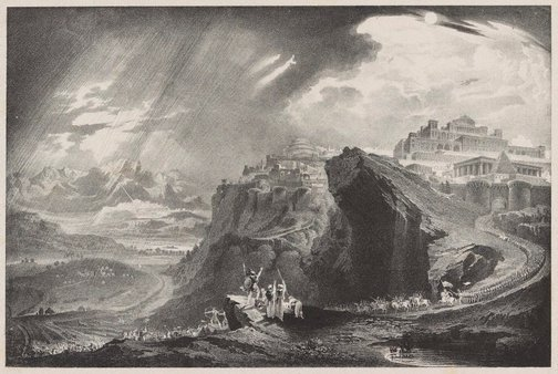 An image of Joshua commanding the sun to stand still by Unknown, after John Martin