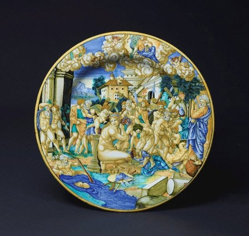 An image of Large plate: An allegory on the sack of Rome by Francesco Xanto Avelli