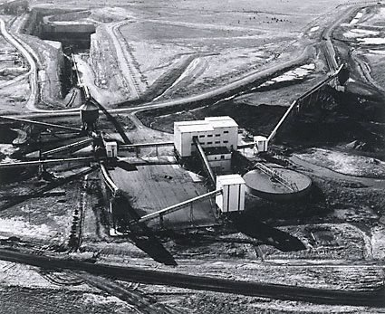 An image of Aerial view showing the No.2 wash plant and the box cut at No.2 underground mine by Max Dupain