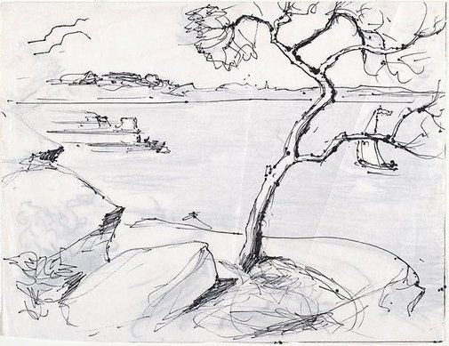 An image of recto: Study for 'Iron Cove, Sydney Harbour' or 'The Island, Iron Cove' verso: [rubbed with soft pencil] by Lloyd Rees